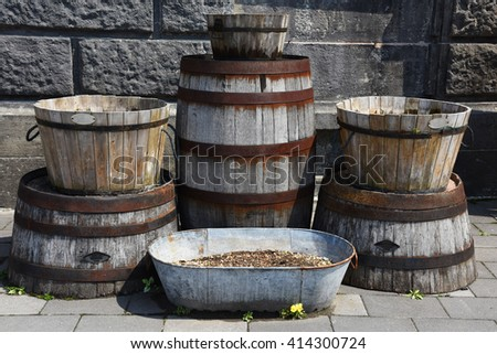 Old wooden buckets or barrel for exterior at Sakaimachi Street in Otaru, Japan - stock photo