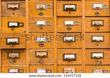 Old wooden card catalog - stock photo