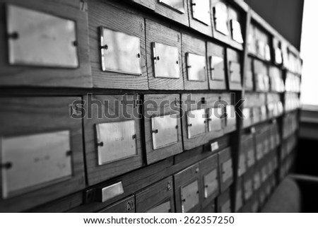 Old wooden card catalogue. Library catalogue. - stock photo