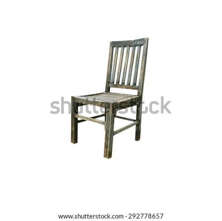Old wooden chair isolated on white background.