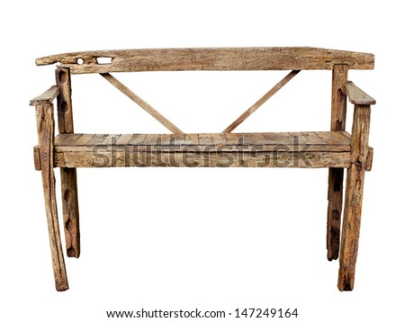 Old wooden chair isolated over white, with clipping path - stock photo