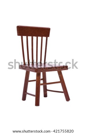 Old wooden chair on a white background