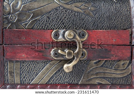 Old wooden chest  - Close Up to Lock - - stock photo