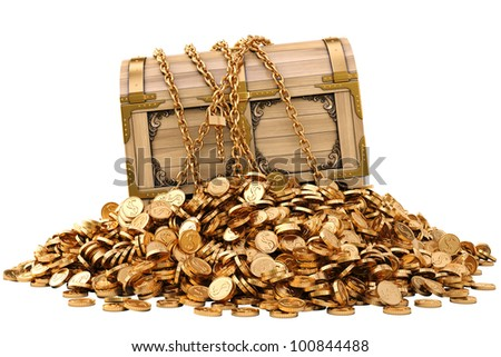 old wooden chest in chains on a pile of gold coins. isolated on white. - stock photo