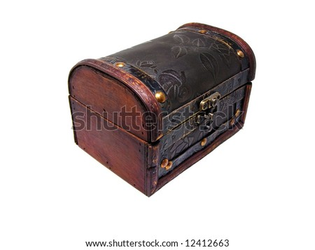 Old wooden chest isolated on white