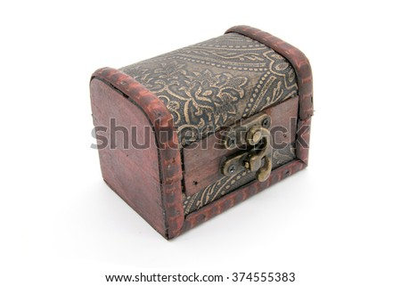 Old wooden chest, on white background
