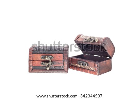 Old wooden chest on white background, with clipping path