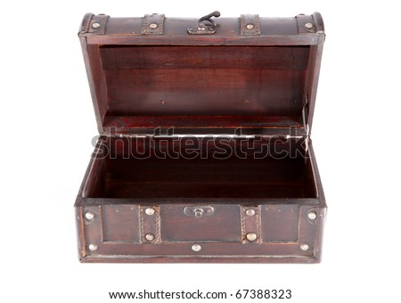 Old wooden chest, open. Isolated over white background