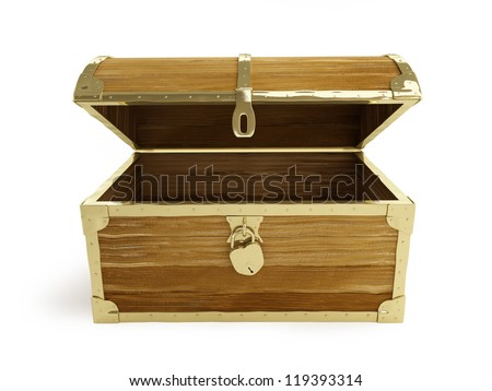 old wooden chest open on a white background - stock photo