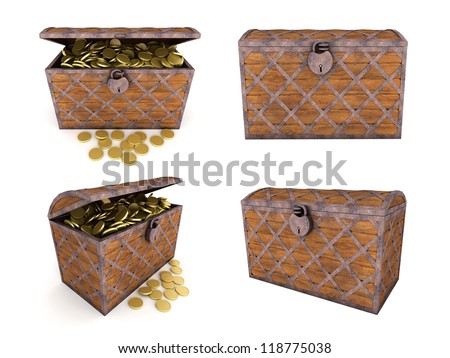 Old wooden chest with gold coins. Isolated on white. 3d render - stock photo