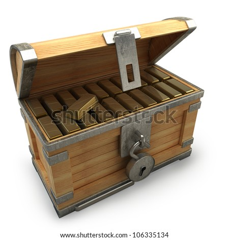 old wooden chest with gold  isolated on a white background high resolution 3d render - stock photo