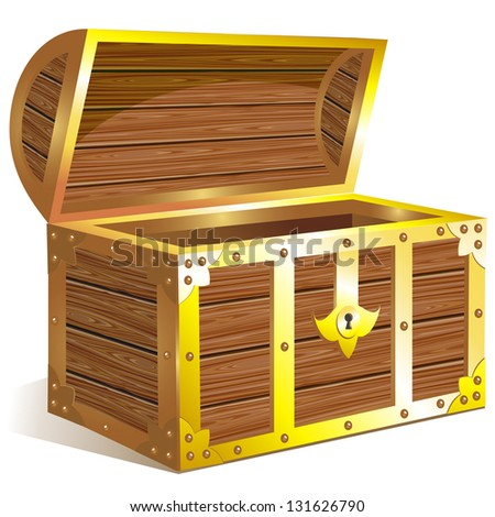 Old wooden chest with golden details. Raster version. Vector is also available in my gallery - stock photo
