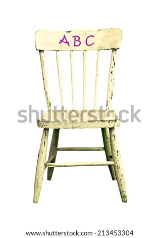 old wooden childes chair with ABC, isolated - stock photo