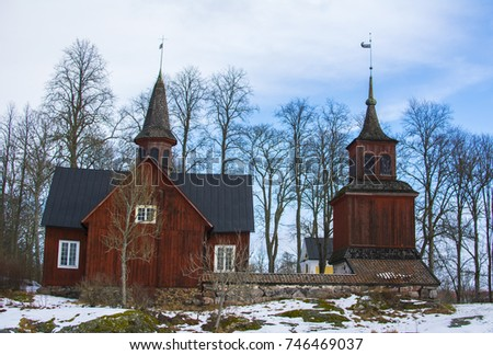Old wooden church in Fagervik, Finland