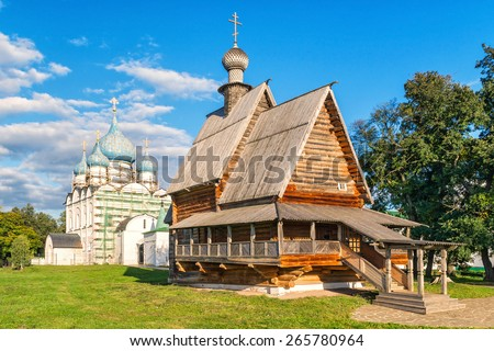 Old wooden church in the Suzdal Kremlin. Suzdal, Golden Ring of Russia. - stock photo