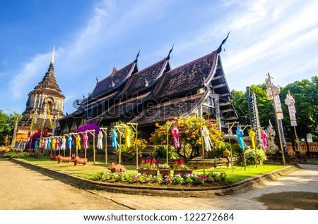 Old wooden church of Wat Lok Molee Chiangmai Thailand - stock photo