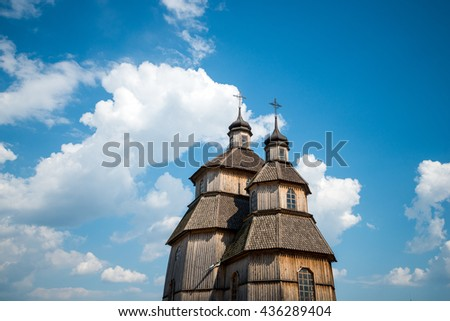 old wooden church on the island of Khortytsya in Zaporozhye, Ukraine - stock photo