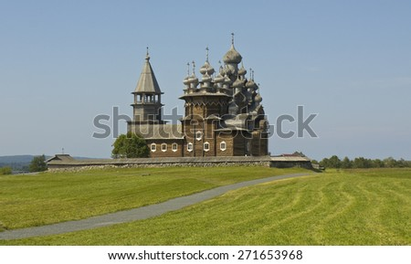 Old wooden churches on island Kizhi on Onega (Onezhskoye) lake in region Karelia on North of Russia, UNESCO World Heritage site. - stock photo