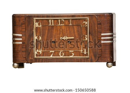 Old wooden clock isolate on white - stock photo