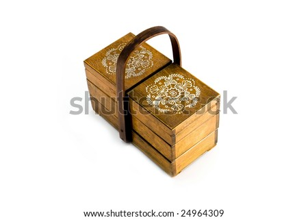 Old wooden close case with folk pattern