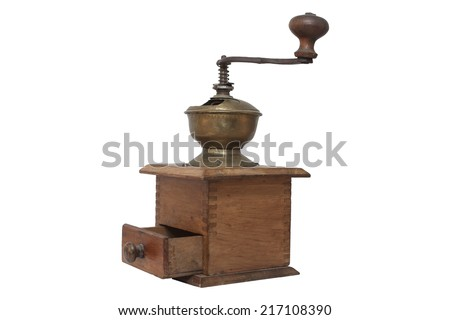 Old wooden coffee grinder isolated on white background - stock photo