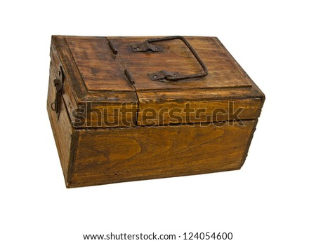 Old wooden coffer, isolated - stock photo