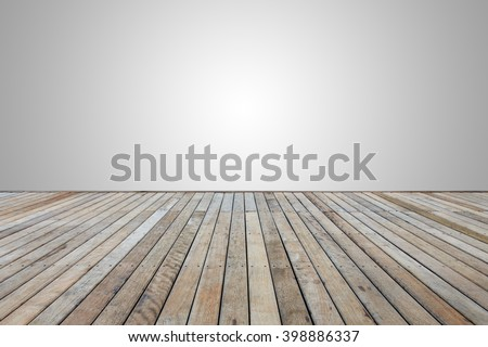 Old wooden decking or flooring isolated on blank grey space for design