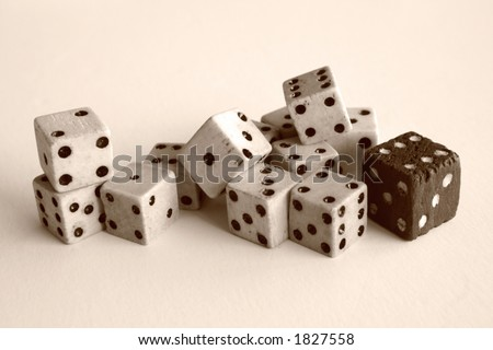 Old Wooden Dice Sepia