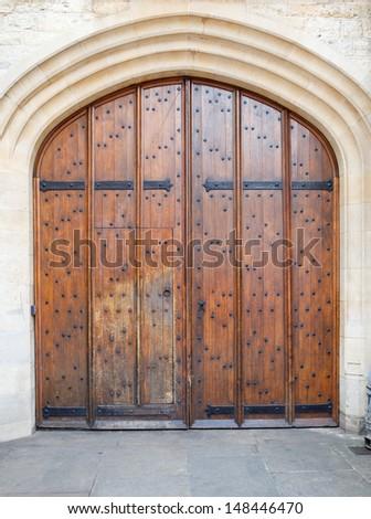 Old wooden door background (Oxford) - stock photo