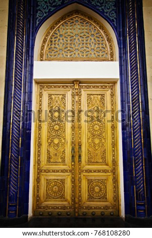 Old wooden door decorated with blue Persian style mosaic tiles Uzbekistan. Persian architecture in & Old Wooden Door Decorated Blue Persian Stock Photo 768108280 ...