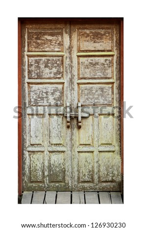 Old wooden door for house - stock photo
