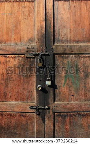 Old Wooden Door Lock with Padlocks