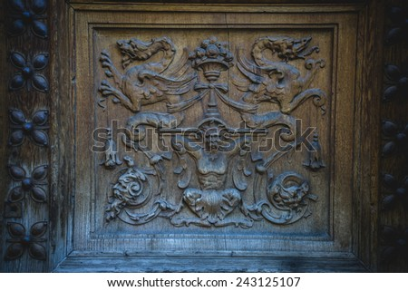 old wooden door with carvings