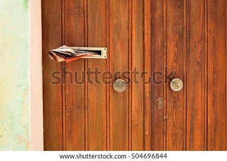 Old wooden door with newspaper in mail slot & Mail Slot On Door Stock Images Royalty-Free Images \u0026 Vectors ... Pezcame.Com