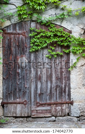 Old wooden door with rusty hinges of the antique stone house overgrown with grape leaves.  - stock photo
