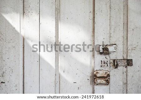 Old wooden door with shadow - stock photo