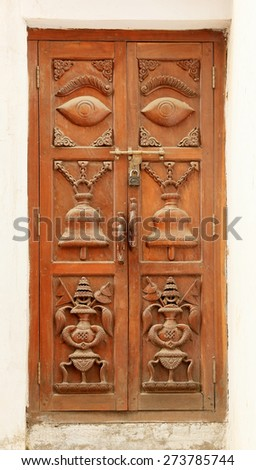 Old wooden doors Nepalese, background  - stock photo