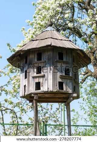 Old wooden dovecote. Museum Uzhgorod, Ukraine. - stock photo