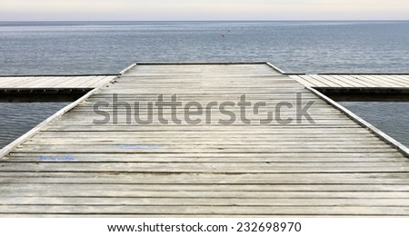 old wooden empty pier jetty at the sea - Sopot Poland - stock photo