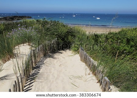 Old wooden fence, beach access in Ile d'Yeu Island, Vendee, France Atlantic Ocean in background - stock photo