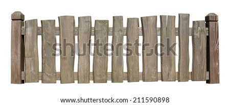 Old wooden fence isolated with clipping path included - stock photo