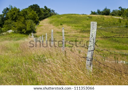 old wooden fence posts wrapped with barb wire fence the grass has grown up tall