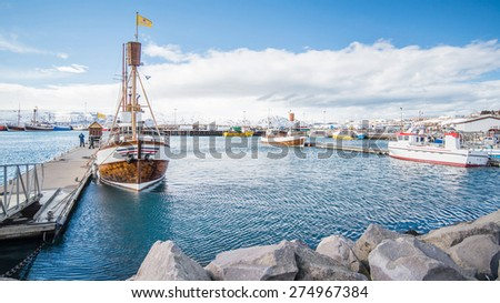 old wooden fisherman boats in Husavik , Iceland - stock photo