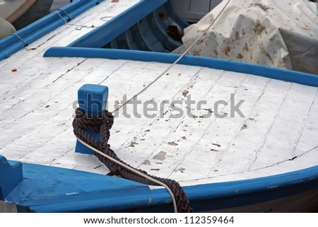 Old wooden fishing boat. Small fishing boat. - stock photo
