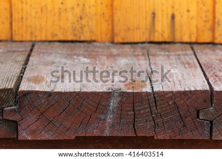 Old wooden floor. Side view - stock photo
