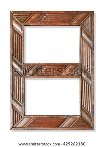 old wooden frame isolated on white - stock photo