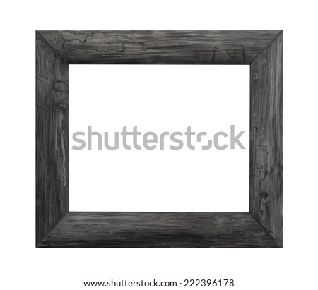 Old wooden frame isolated white background. - stock photo