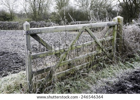 Old Wooden gate with frost - stock photo