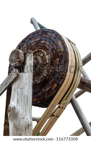 Old wooden gear isolated on white background. - stock photo