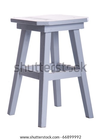 old wooden grey stool isolated on white background - stock photo